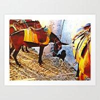 Donkey and dog 2 Art Print