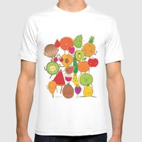 Veggies Fruits Mens Fitted Tee White SMALL