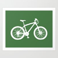 Mountain Bike Green Art Print