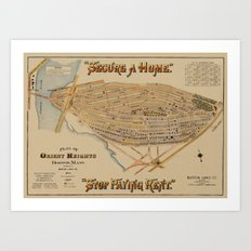 Map of Boston 1894 Art Print