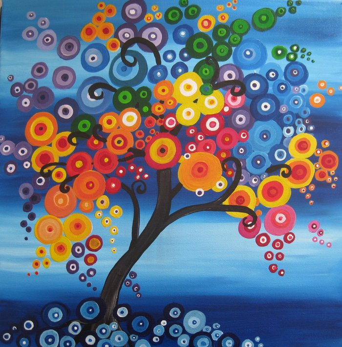 rainbow tree painting tree of life bright red blue yellow ...