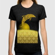 Gold Dolphin Womens Fitted Tee Tri-Black SMALL