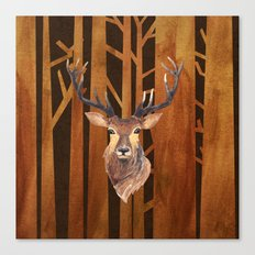 Proud deer in forest 1 Canvas Print
