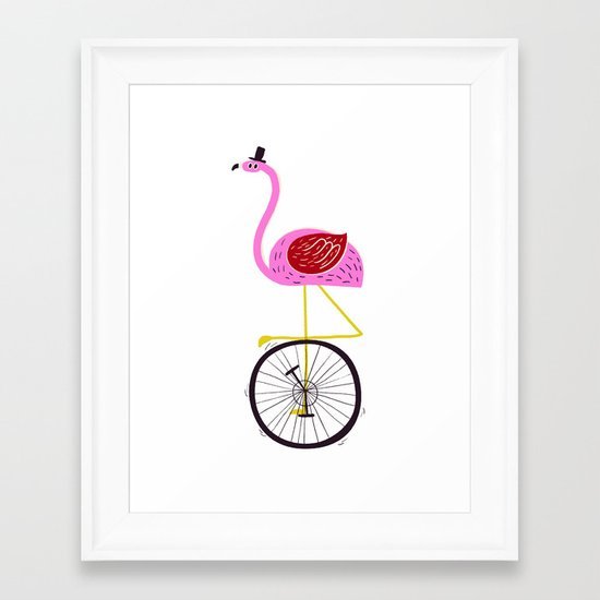 flamingo unicycler Framed Art Print