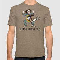 Chell Burster Mens Fitted Tee Tri-Coffee SMALL