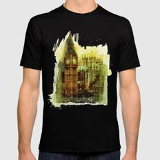 London - Big Ben Mens Fitted Tee Black SMALL