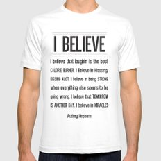 I BELIEVE - Audrey Hepburn SMALL White Mens Fitted Tee
