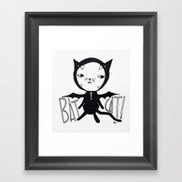 Bat Cat! Framed Art Print