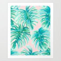 Paradise Palms Blush Art Print