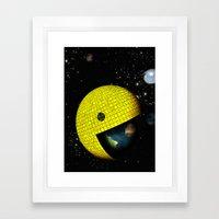 Pacman Eating the World Framed Art Print