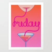 friday cocktail lettering Art Print