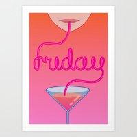 Friday Cocktail Letterin… Art Print