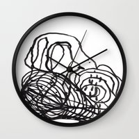 Paint 2 abstract black and white minimal brushstroke japanese modern home decor dorm college  Wall Clock