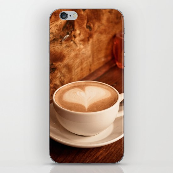 white coffee heart iPhone & iPod Skin