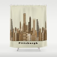 Pittsburgh skyline vintage Shower Curtain