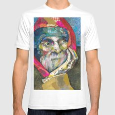 Old man SMALL White Mens Fitted Tee