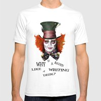 The Mad Hatter Mens Fitted Tee White SMALL