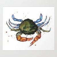 CRAB print, crab art, nautical decor, sea creatures, watercolor animals, animal paintings Art Print