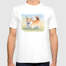 Funny Welsh Corgi 859 SMALL Mens Fitted Tee White