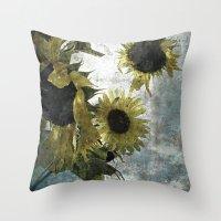 Autumnal Sunflowers Throw Pillow