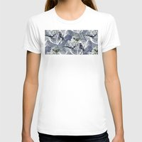 Birds Pattern Womens Fitted Tee White SMALL