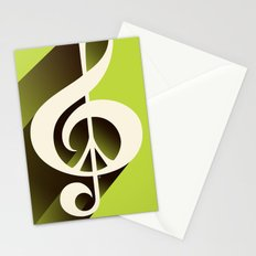 Lime Green Retro Music & Peace  Stationery Cards