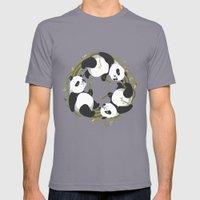 Panda Dreams Mens Fitted Tee Slate SMALL