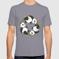 Panda Dreams Mens Fitted Tee Slate SMALL