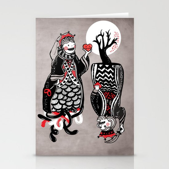 Queen and King of Hearts Stationery Card