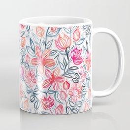 Mug - Coral and Grey Candy Striped Crayon Floral - micklyn