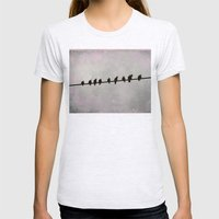 9 Birds on a Wire Womens Fitted Tee Ash Grey SMALL