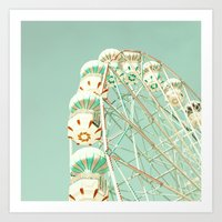 Soft Aqua Ferris Wheel  Art Print