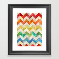 Chevron Rainbow Quilt Framed Art Print