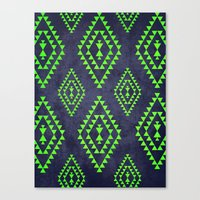Navy & Lime Tribal Inspi… Canvas Print