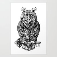 owl Art Prints featuring Great Horned Owl by BIOWORKZ