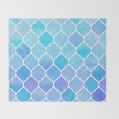 Blue and purple glass Moroccan print Throw Blanket