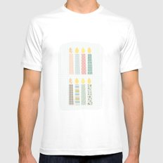 candles pattern Mens Fitted Tee White SMALL