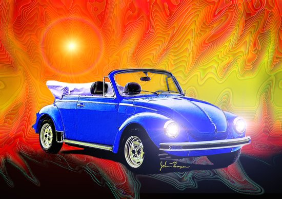 70 VW Super Beetle Art Print