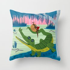 The Alligator and The Armadillo Throw Pillow