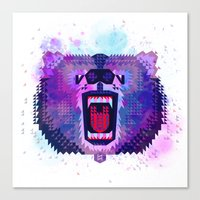 Lilac Geometric Bear  Canvas Print