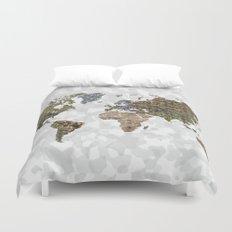 CAMO WORLD ATLAS MAP (WHITE) Duvet Cover