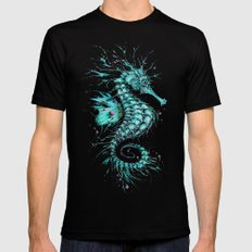 Cyan Seahorse Mens Fitted Tee Black SMALL
