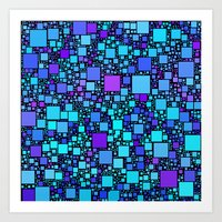 Post It Blue Art Print