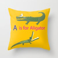 A is for Aligator Throw Pillow