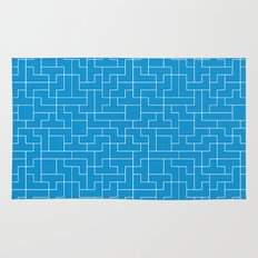 White Tetris Pattern on Blue Rug