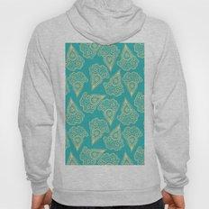beige paisley on turquoise background Hoody