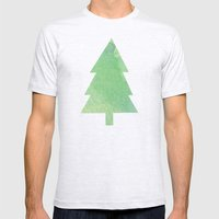 Simple Pine Tree Forest Pattern Mens Fitted Tee Ash Grey SMALL