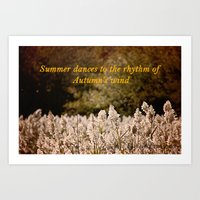 Summer dances to the rhythm of Autumn's wind Art Print