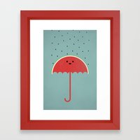 Watermelon Umbrella Framed Art Print