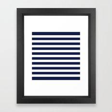 Stripe Horizontal Navy Blue Framed Art Print